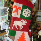 Christmas Heavy Felt Moose Stocking