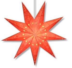 Batik Star Lamp in Red