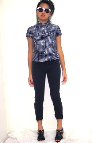 VINTAGE: Checkered Short-Sleeve Blouse