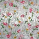 "White Polyester Sheer Fabric with Pink and Yellow Flowers 60"" wide x 2.75 Yards"