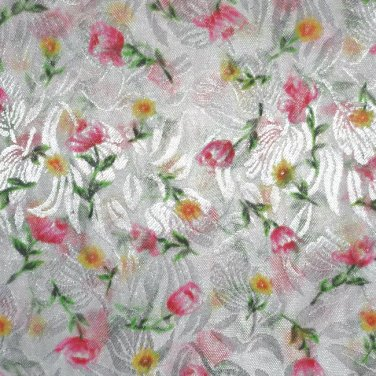 """White Polyester Sheer Fabric with Pink and Yellow Flowers 60"""" wide x 2.75 Yards"""