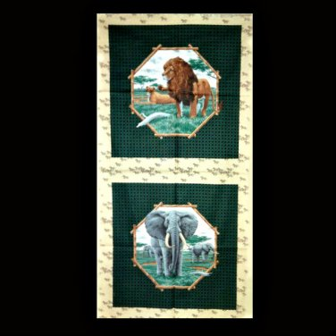 "African Savannah Elephant and Lion Cotton Fabric 14"" x 14"" Pillow Top Panels"