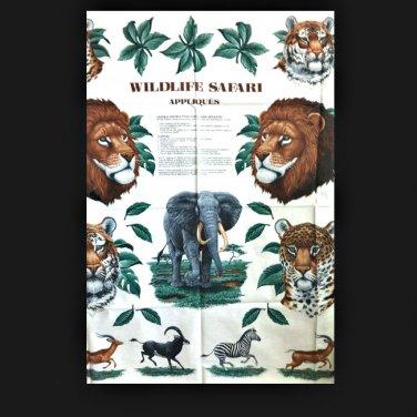 Wildlife Safari Animals No Sew VIP Cranston 100% Cotton Crafting Applique Panel