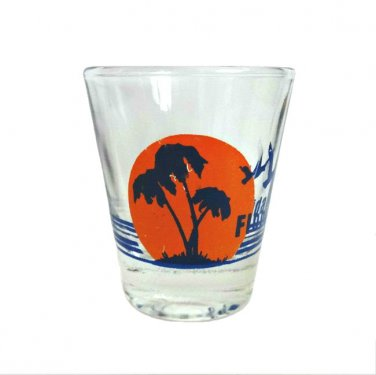 Florida Palm Tree Sunset Clear Glass Souvenir Shot Glass