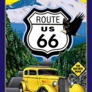 Route 66 - The Mother Road - w/ yellow hot rod TIN SIGN