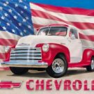 1951 Chevy Pick Up w/ American Flag TIN SIGN