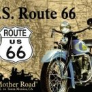 The Mother Road U.S. Route 66 w/ motorcycle TIN SIGN