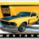 Yellow and Black Boss 302 Ford Mustang hot rod TIN SIGN