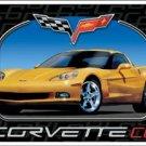 Chevrolet Corvette C6 checkered racing flag logo TIN SIGN
