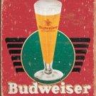 Budweiser Retro Glass & Logo TIN SIGN