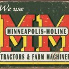 Minneapolis Moline Tractors Logo TIN SIGN