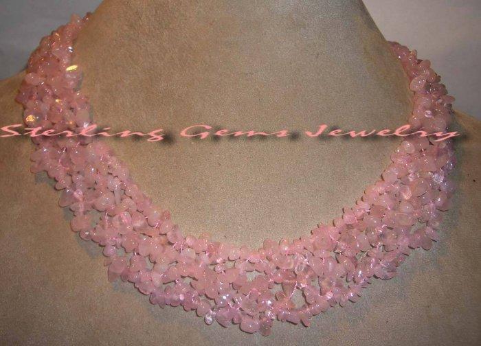 """Breathtaking Genuine Natural 20"""" Rose Quartz Necklace"""