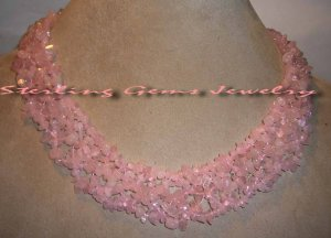 "Breathtaking Genuine Natural 20"" Rose Quartz Necklace"