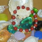 NATURAL RED SPONGY CORAL AND GENUINE PEARL BRACELET*DESIGNS by STERLING GEMS JEWELRY*