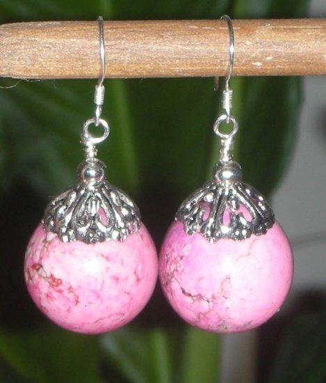 HUGE SS. Genuine 17MM Pink Turquoise Howlite Earrings*DESIGNS by STERLING GEMS JEWELRY