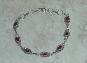 STERLING SILVER GENUINE GARNET GEMSTONES BRACELET