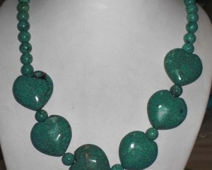 Huge Genuine Turquoise Howlite Hearts/ Beads Necklace