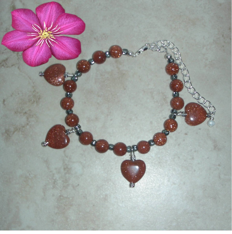 My Heart Charm Sunsitara Goldstone  Bracelet