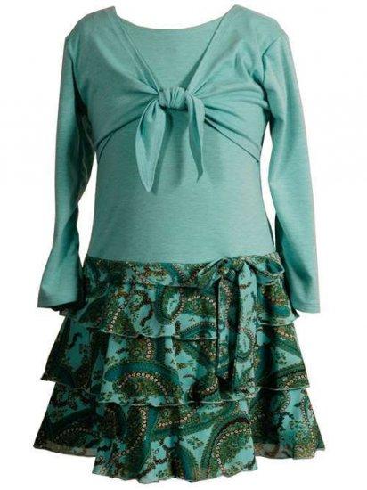 Turquoise Cardigan Dress with Paisley Skirt -Sz 14  NWT
