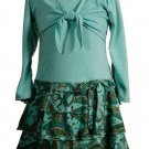 Turquoise Cardigan Dress with Paisley Skirt -Sz 14  NWT