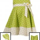 Rare Editions Lime Dotted Dress w/ Hat-Sz 12 months-NWT