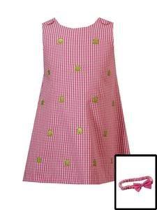Rare Editions Frog Checked Dress w/headband-Sz 2T-NWT