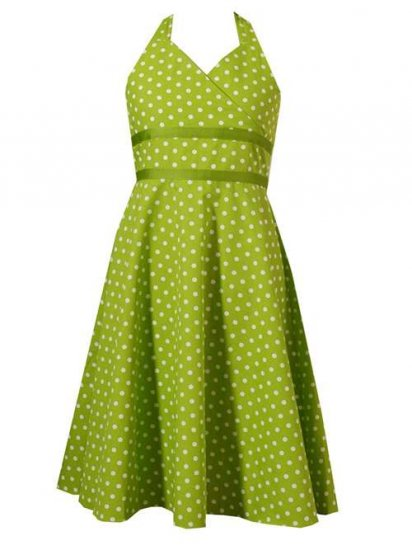 Rare Editions Green and White Halter Dress-Sz 14.5 -NWT