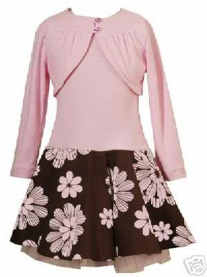 Rare Editions Pink and Brown Cardigan Dress Sz 6-NWT