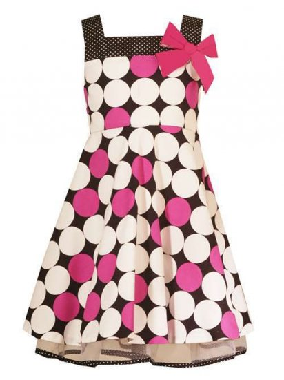 Rare Editions Fuschia/Black/Wh Dotted Dress-Sz 6X-NWT