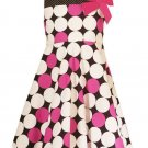 Rare Editions Fuschia/Black/White Dotted Dress-Sz 5-NWT
