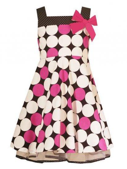Rare Editions Fuschia/Black/White Dotted Dress-Sz 4-NWT