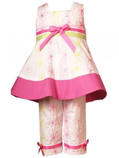 Rare Editions Girls Embroidered Capri Set  Size 6