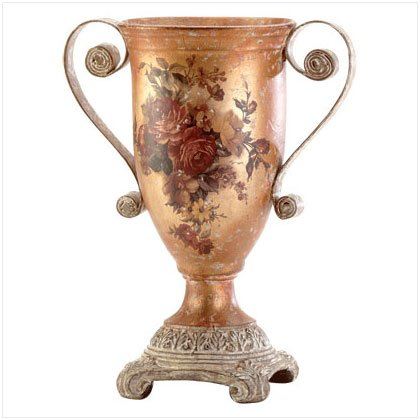ANTIQUE ROSES VASE W/METAL HANDLE