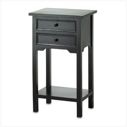 BLACK TABLE WITH 2 DRAWERS