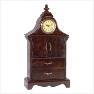 WOOD ANTQ CLOCK CABINET