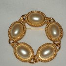 Vintage Signed Paquette Faux Pearl Brooch Pin Jewelry