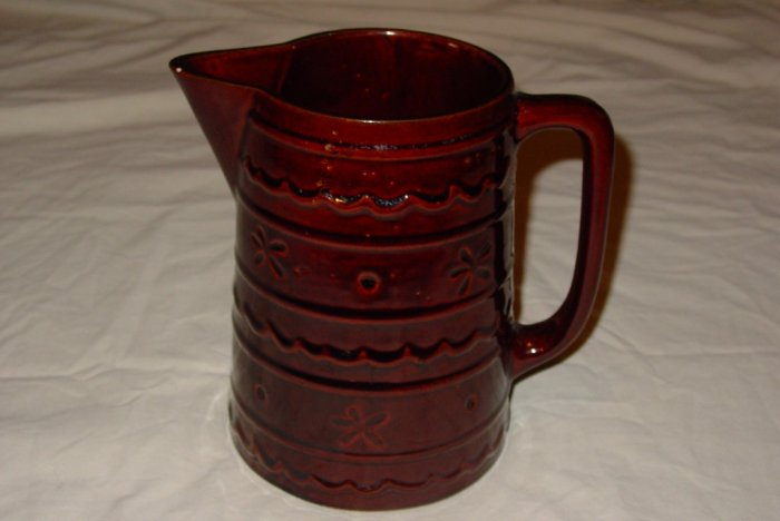 Vntg Marcrest Daisy Dot Brown Stoneware Jumbo Pitcher