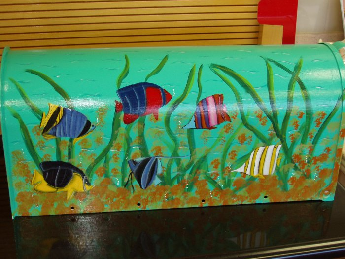 Hand Painted Mailbox Mailboxes With Tropcial Fish Design 16