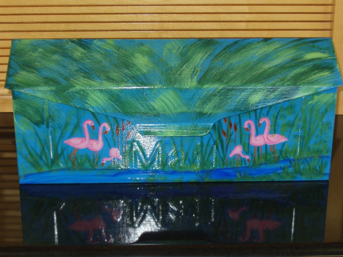 Hand Painted Wall Mount Mailbox Mailboxes With Flamingo's, Palm Trees And Cattails 14