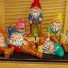Hand Painted Ceramic Garden Gnomes Set of 7