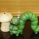 Ceramic Inch Worm And Mushroom For Your Garden Decor