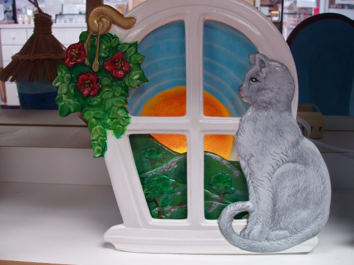 Handpainted Ceramic Silhouette Night Light Cat sitting on Windowsill