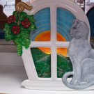 Handpainted Ceramic Silhouette Night Light Cat sitting on Windowsill
