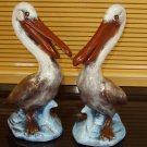 Pair Ceramic Pelicans Indoor Outdoor Home and Garden Decor Handpainted