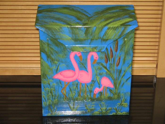 Flamingo Wall Mount Mailbox Handpainted with Palm Trees and Cattails Vertical 10