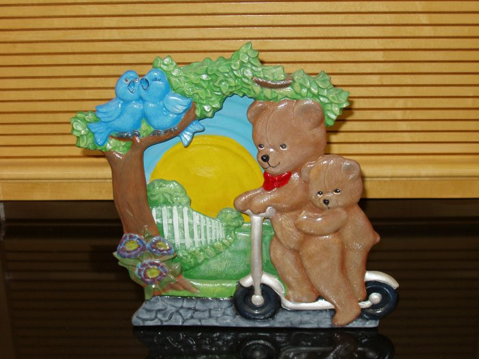 Papa Bear and Baby Bear Silhoutte Night Light Handpainted Ceramic