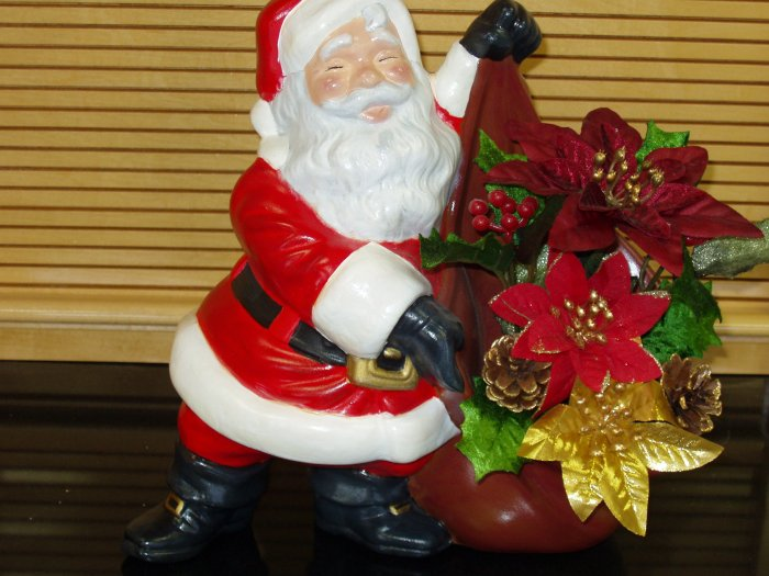 Large Santa with Sack filled with Pointsettia's Ceramic Handpainted