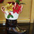 Decorative Santa Boot Filled with Silk Pointsettia's  Ceramic Handpainted