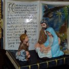 Nativity Scene with Open Bible Christmas Verse Ceramic Handpainted