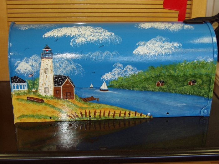 Hand Painted Mailbox Mailboxes With Lighthouse Design 19
